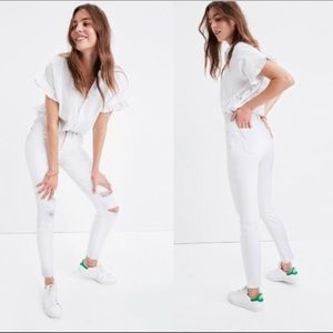 """Madewell 9"""" high-rise skinny crop white jeans"""
